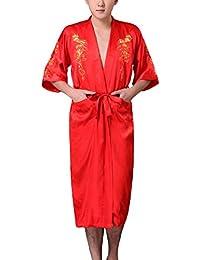 JTC Homme Vêtement de Nuit Peignoir Kimono Robe de Nuit/Bain Pyjama de Chambre en Satin