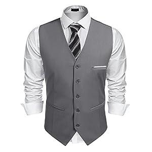 Burlady Herren Western Weste Herren Anzug Weste V-Ausschnitt Ärmellose Westen Slim Fit Anzug Business Hochzeit