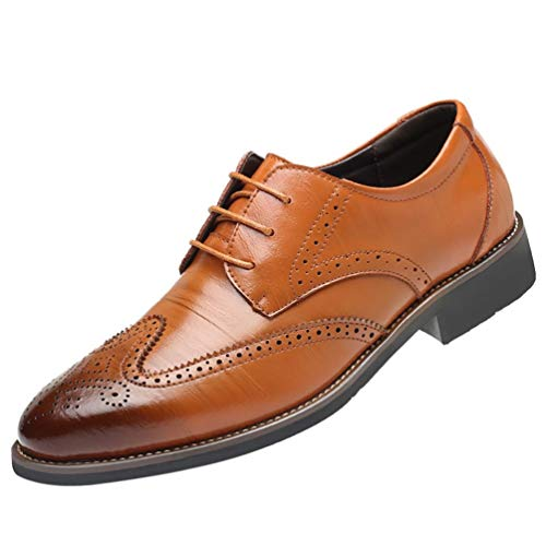 Soldes Homme Chaussures Richelieu Fauve Large en Cuir,Overdose Mode Mocassins à Lacets Elégance Mariage Workwear Shoes