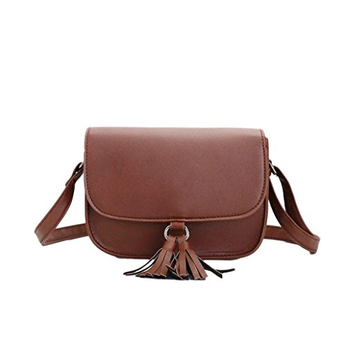 JERFER Damen Mode Weise Süßigkeit Quaste Kuriertaschen Weibliche Handtasche Schultertasche Bag Kaffee