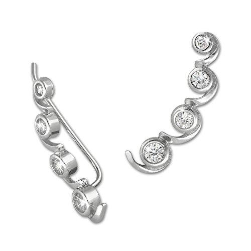 SilberDream GSO417W Pendientes largos plata circonitas