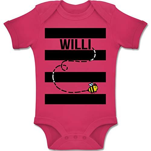 Shirtracer Karneval und Fasching Baby - Bienen Kostüm Willi - 6-12 Monate - Fuchsia - BZ10 - Baby Body Kurzarm Jungen - Baby Mädchen Biene Kostüm