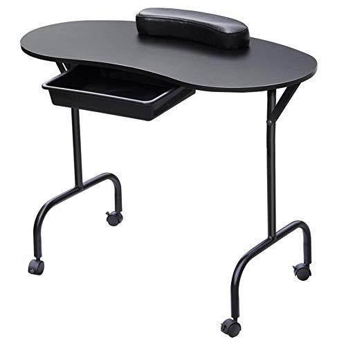 Studio Manucure Bureau Ménage Étudiant Dortoir Portable Simple Table De Manucure Tiroir Table De Poulie Avec Oreiller,Black