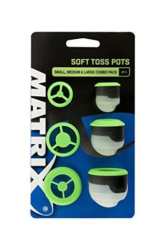 Cup Combo Pack (Fox Matrix Soft Toss Pots combo pack - 3 Köderbecher zum Anfüttern mit der Kopfrute & Stipprute, Köderkelle zum Stippangeln)