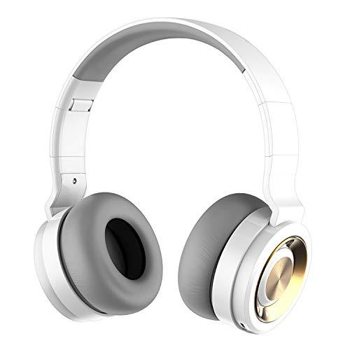 Alitoo Casque Bluetooth, sans Fil Casque Réduction de Bruit avec Hi-FI Basse Profonde, Audio Écouteurs Over Ear Wireless Headphones avec Microphone pour Smartphone, PC, iPad, 12 Heures(Blanc Or)