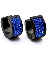 K Mega Jewelry 14X14mm Stainless Steel Blue Crystal Black Studs Hoop Mens Earrings E275