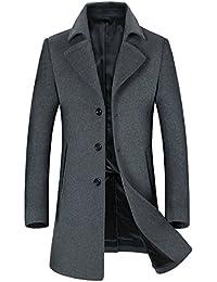 b5c6dbf23de01 Fortuning s JDS Invierno Casual Cálido Sólido cuello de solapa Abrigo  Outwear para hombres