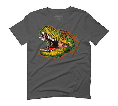 T rex head Men's Graphic T-Shirt - Design By Humans Anthracite