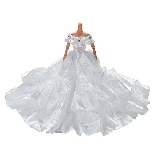 1pcs Schöne Barbie-Puppen Hochzeit Schleppen-Rock-Kleid Weiß