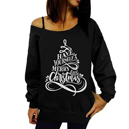 Sweatshirt damen Kolylong® Frauen Locker Weihnachten Langarm Bluse Herbst Winter Trägerlos Langarmshirts Elegant Sweatshirt Locker Pullover Beiläufig T-Shirt Tops Oberteile (S, Schwarz)