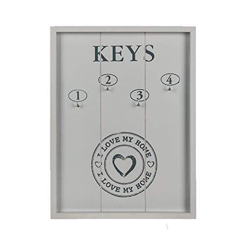 OOTB Weißes Holz- Schlüsselbrett Keys I Love My Home