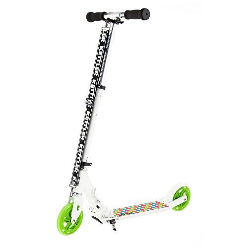 Kettler Scooter Zero 6 Spotted - klappbarer Cityroller mit Kick-Fußbremse und gepunktetem Design - höhenverstellbarer Kinderroller aus Aluminium - auch für Erwachsene - weiß, schwarz & grün