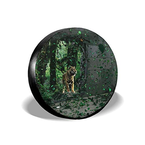 Vbnbvn Reserveradabdeckung, Tiger Wallpaper Potable Polyester Universal Spare Wheel Tire Cover Wheel Covers for Jeep Trailer RV SUV Truck Camper Travel Trailer Accessories(14,15,16,17 Inch) Tiger Wallpaper Set