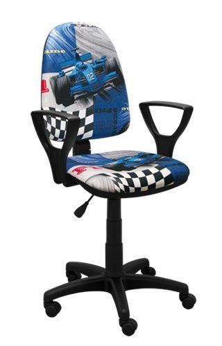 Best For Kids Kinderschreibtischstuhl Jugend-Bürostuhl Kinder-Drehstuhl viele Designs Formel1 F1 Motor Princess Girl Lady Football (BRED F1 BLAU)