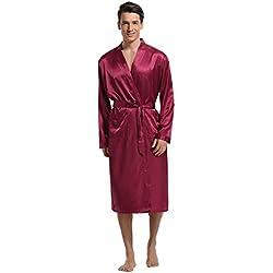 Aibrou Herren Morgenmantel Bademantel Lang Satin Nachtwäsche Kimono Sleepwear V Ausschnitt mit Gürtel Rot XXL