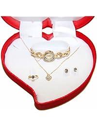 Coffret Cadeaux Coeur doré Miroir Femme Montre+Bague+Boucle d'oreilles Strass+Collier Pierre-cedric
