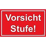 Vorsicht Stufe!, 150 x 250 mm, Warning-, description- and prohibition-sign, PST-plastic