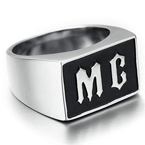 YBMEN Anillo Retro Anillo de la joyería de Acero Inoxidable para los Hombres del Anillo Wide Band Sello del Grabado con MC