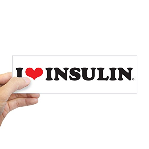 CafePress I Love Herz Insulin Bumper Aufkleber Aufkleber Bumper, weiß, Standard