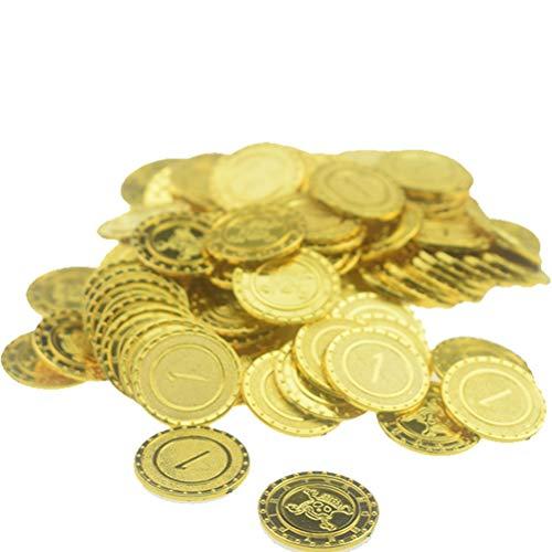100 stücke Gold Münzen Pirate Schatz Spiel Halloween Spielen Geld Pirate Party Requisiten Kinder Kinder Party Weihnachten Dekoration Liefert