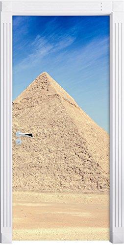 Egitto Wonders Piramidi di Giza come Murale, Formato: 200x90cm, telaio della porta, adesivi porta, porta decorazione, autoadesivi del portello