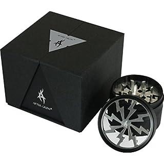 Thorinder 50mm Mini-Kräutermühle 4Stück Silberfarben Crusher Premium-Qualität Aluminium mit Pollen-Fänger & Scrapper
