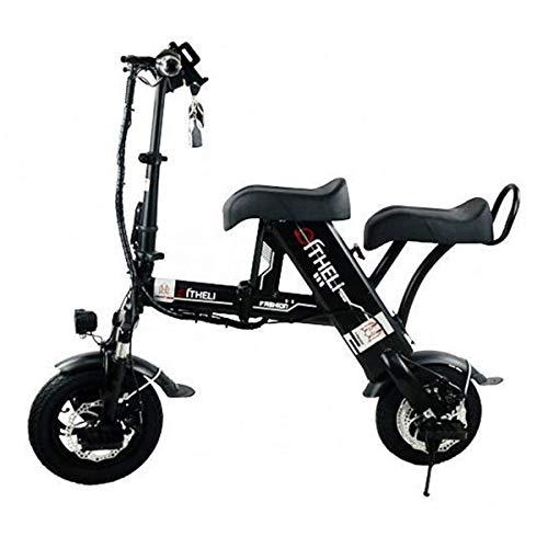 Y&XF Erwachsener tragbarer manueller elektrischer Roller, Mini kleine Lithium-Batterie 48V, die Moped-Batterielebensdauer 50-60 Kilometer faltet,Black,30~35km (Batterie-elektrischer Roller 48v)