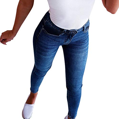 NPRADLA Frauen Casual Jeans Hipster Mittlere Taille Röhrenhose Lässige Cowboy Stretchy Denim Woman Bow Beading Pencil Pants(S,Blau) -