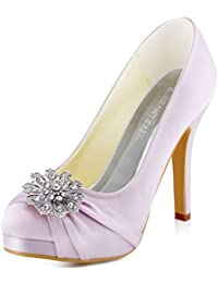 ElegantPark Women Pumps Closed Toe Platform High Heel Buckle Satin Evening Wedding Court Shoes