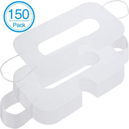 150 Packungen Einweg Maske Vlies Sanitär Augenmaske Weiße Augenmasken Abdeckung Kompatibel mit VR Headset H-T-C Vive Virtual Realität Headset (Weiß)