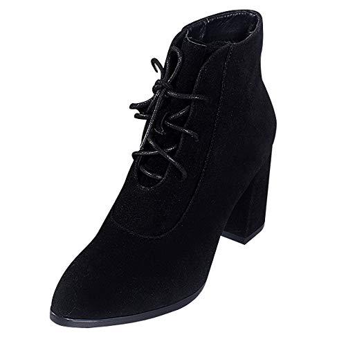 WWricotta Damen Schuhe Stiefeletten Chelsea Boots mit Blockabsatz Profilsohle Kurzschaft Stiefel Freizeitschuhe Schnürschuhe Martin Stiefel Ankle Boots - Pailletten Knie-boot