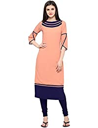 Shopping Queen Peach Color Faux Georgette Casual Solid Straight Kurta…