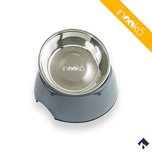 inooko-Bowl-in-Melamine-and-Stainless-steel-No-slip-bowl-350ml-diameter-176-x-6-cm-for-Dogs-and-Cats--Dark-Grey