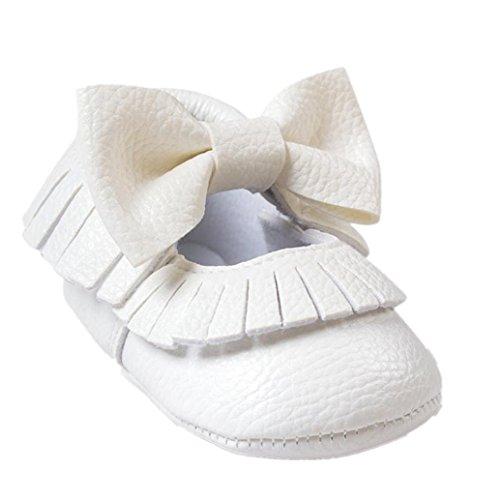 Chaussures Bébé,Clode® Bébé fille Bowknot glands Chaussures enfant chaussures occasionnelles (0~6 mois, Rouge) blanc