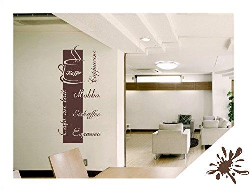 Wandtattoo Cappuccino Espresso Mokka inkl. Rakel (kfe03 braun) 140 x 63 cm mit Farb- u. Größenauswahl