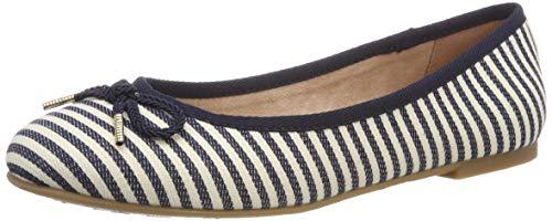 Tamaris Damen 1-1-22142-22 865 Geschlossene Ballerinas, Blau (Navy Stripes 865), 39 EU - Gestreifte Spitze
