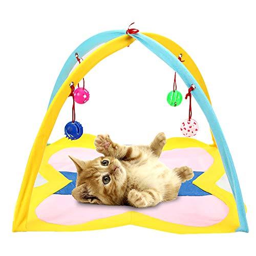 Katzenzelt Hihey Katzenbett Katzenkissen Tierbett Katzenspielzeug faltbar waschbar mit Hängende Spielzeug Glocken Bälle und Mäuse -