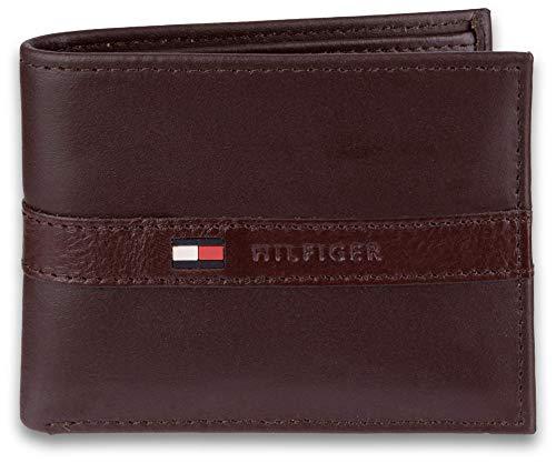 Tommy Hilfiger - Billetera para Hombre con 6 Bolsillos para Tarjetas de crédito y Ventana extraíble, marrón Oscuro (Marrón) - 31TL22X062-200