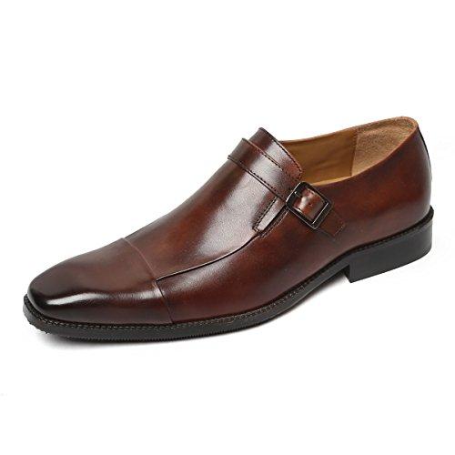 Brune Men Dark Brown Long Vamp Monk Strap Leather Formal Shoe