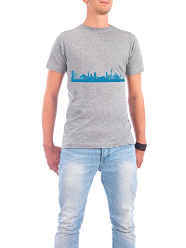 "Design T-Shirt Männer Continental Cotton ""DÜSSELDORF 05 Skyline Print monochrome Teal"" - stylisches Shirt Abstrakt Städte Städte / Düsseldorf Architektur von 44spaces Grau"