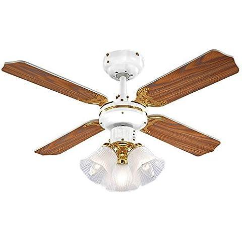 MiniSun - Ventilador de techo con luz para frío y calor con 3 focos y 4 aspas reversibles en roble y