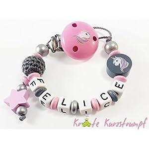 Schnullerkette mit Namen für Mädchen mit Einhorn, Stern und Häkelperle in rosa, anthrazit, silber