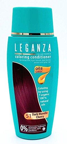 Leganza, teinture baume pour les cheveux sans ammoniaque couleur cerise foncé N51, 7 huiles naturelles.