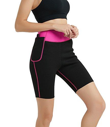 NOVECASA Pantalones Cortos de Sudoración con Bolsillo para Teléfono Móvil Mujer Neopreno Sauna Fitness Yoga Pantalones Adelgazante Medias Slimming Quema Grasa (S, Rosa)
