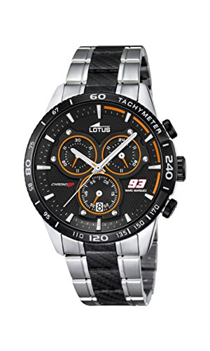 Lotus Marc Marquez Collection 2016 Men's Quartz Watch with Black Dial Chronograph Display and Multicolour Stainless Steel Bracelet 18258/2