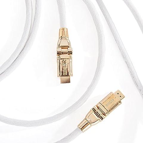 Duronic HDC01 / 5m – Câble HDMI blindé 1.4 - 5 mètres – Connecteurs en plaqué or 24K inclinable et rotatif- permet la transmission de signal Full HD 1080P - 4K 2160p - Ethernet