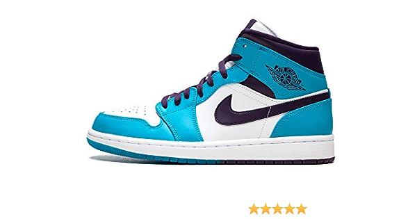 Nike Jordan 554724-415: Retro 1 Mid Baskets pour homme Blanc/bleu ...