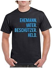 Comedy Shirts - Ehemann. Vater. Beschützer. Held. - Herren T-Shirt - Rundhals, 100% Baumwolle, Kurzarm Top Basic Print-Shirt
