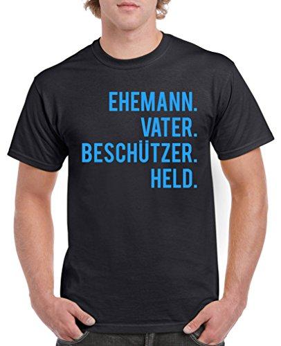Comedy Shirts - Ehemann. Vater. Beschützer. Held. - Herren T-Shirt - Schwarz / Blau Gr. 3XL