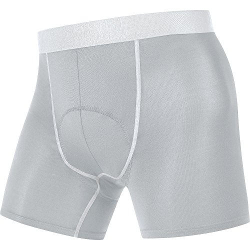 GORE BIKE WEAR Herren Boxer-Shorts, Integrierter Sitzpolster, Stretch, GORE Selected Fabrics, BASE LAYER Boxer Shorts+ titan/white